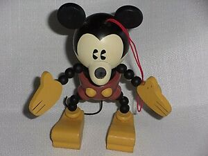 """Disney Mickey Mouse Wooden Hands and Feet (Resin Wooden Body?) 6"""" Tall"""