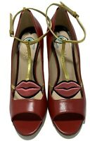NEW, GUCCI x DISNEY DARK RED 'MOLINA' PUMPS WITH LIPS, 39.5, $1350