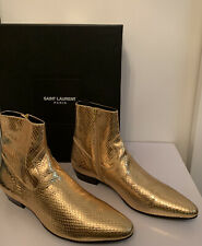 YSL SAINT LAURENT PARIS Faux Python Gold Mirror Leather Western  boots 43/ US 10