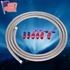 AN6 12Feet Braided Stainless Steel Feed/Return Hose + Oil/Gas/Fuel Fittings Kit