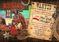 Cowboy Invitation, Western Party, Wild West Horse Birthday Invite