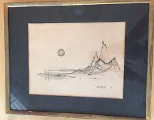 "Signed LEONARDO NIERMAN ABSTRACT ART 1963 ""Paisage Imaginario"" Ink on Paper"