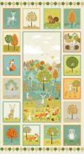 Forest Panel - Makower Wallhanging Cot Quilt Craft Panel - Cotton Fabric