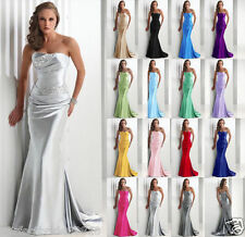 Mermaid Strapless Bridesmaid Dress Ball Gown Party Prom  Evening Dress Size 6-18