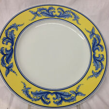 "VISTA ALEGRE PORTUGAL SALINA SALAD DESSERT PLATE 8 3/8"" BLUE LEAVES ON YELLOW"
