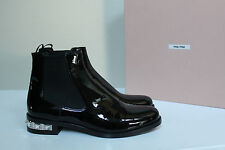 New sz 10 / 40.5 Miu Miu Black Patent Leather Crystal Low Heel Ankle Boot Shoes
