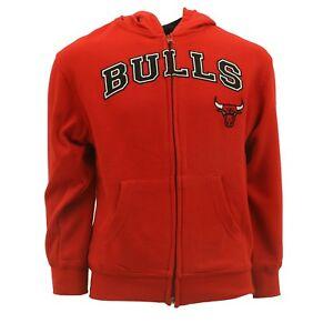 Chicago Bulls Youth Kids Size Official NBA Adidas Zip Up Sweatshirt New
