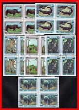 CENTRAL AFRICA = WWF = AFRICAN ANIMALS blocks of 4 CTO ELEPHANTS, RHINO, CATS