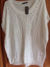 Ladies Stunning Short Sleeve White Lacy Ladder Knit Front Jumper Size 16 NWT