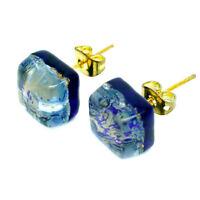 Murano Glass Stud Earrings Blue Gold Square Handmade Venice