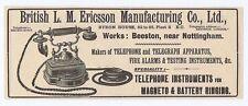 British LM Ericsson Manufacturing Co Ltd Telephones - Antique Advert 1904