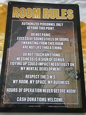 """Collectibles 2006 Martis Design Room Rules Kalan Sm190 Tin Metal Sign 11 3/4""""T"""