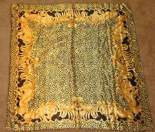 """Vintage Square Scarf Wrap Black Gold Leopard Animal Chain Printed 39"""" Cocktail"""