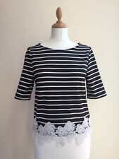 NEW LOOK Black and White Striped Floral Lace Hem Stretch T-Shirt Top - UK 10