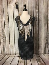 Guess by Marciano Cecilia Studded Tunic Gray Tie Dye Dress Raw Hems Womens S