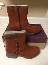 NIB Clarks Womens Riddle Avant Burnished Tan Riding Ankle Boots Shoes sz 8 M