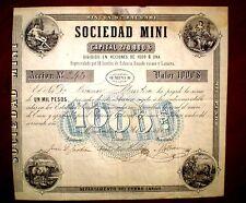 Sociedad Mini  ,share certificate 1000 Pesos,Uruguay 1869