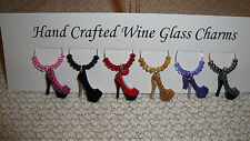 """""""Highheels ' SET OF 6 HAND CRAFTED 'Wine Glass Charms Drink Markers"""