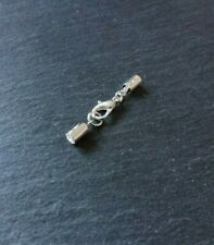 6 sets Silver Plated Crimp Ends for 3mm to 3.5mm Cord & 12mm Lobster Clasps UK