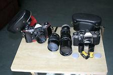 Vintage Hanimex, Praktica Super TL 35mm SLR 3 Lens 2 Film camera outfit
