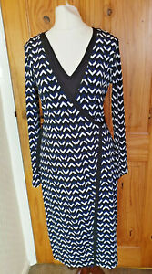M&S Collection Size 8 Marks and Spencer Smart Blue Black Wrap Dress