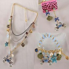 NEW Betsey Johnson Fashion crabs multilayer necklace bracelet earrings set
