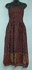 Indian Made Paisley & Diamond Pattern Summer Maxi Dress One Size Burgundy