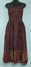 Indian Made Paisley & Diamond Pattern Summer Maxi Dress One Size Burgundy