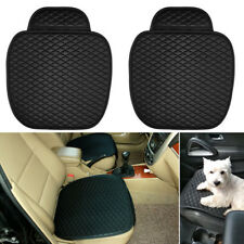 2x Black PU Leather Car Universal Front Seat Cover Driver+Passenger Cushion Mat