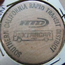 Vintage SCRTD Los Angeles, CA Transit Bus Token Wooden Nickel - California