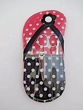 Travel Manicure Set Metal Nail Clipper Tweezers Scissors Pink Flip Flop Case
