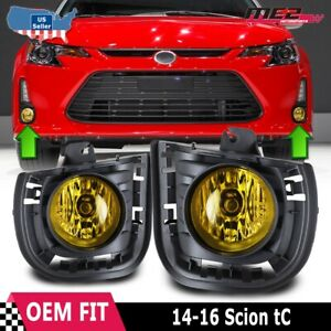 For 14-15 Scion tC OE Style Factory Fit Fog Light Bumper Kit Yellow Lens