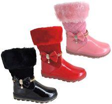 KIDS GIRLS WINTER FAUX FUR LINED GRIP SOLE  ZIP BOW MID CALF SNOW SHOES BOOTS SZ