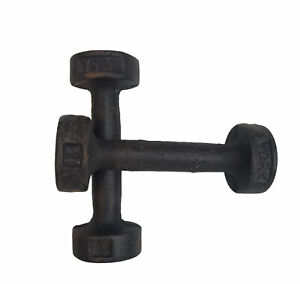 Vtg Cast Iron Metal York Barbell Dumbbell 1 Pound LB 2 LBs Total Weights Set 2