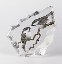 Mats Jonasson Crystal Marsh Tits # 33949 Figurine sculpture- BRAND NEW IN BOX!!