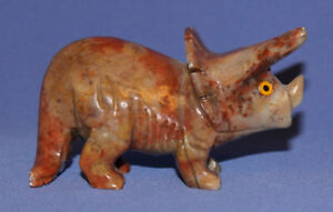 Vintage Small Hand Carved Mineral Stone Triceratops Dinosaur Figurine
