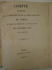 Compte du produit de la fabrication et de la vente exclusive du tabac-année 1851