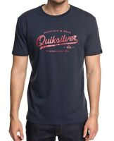 QUIKSILVER MENS T SHIRT.NEW LIVING ON THE EDGE BLUE COTTON TOP TEE 8W 99 BTKO