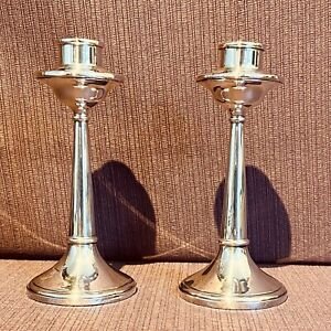 Pair of Hallmarked Silver Candlesticks by Napper & Davenport Birmingham 1922