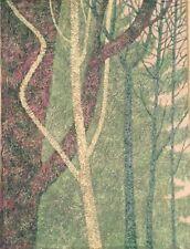 Vintage MODERNIST Woods Scene Landscape ABSTRACT OIL PAINTING Mid Century Modern