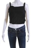 Emporio Armani Womens Cropped Button Down Tank Top Black Wool Size EUR 40