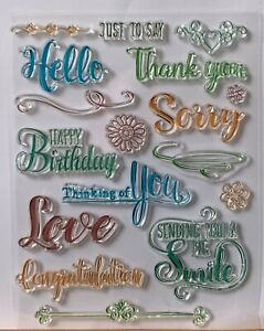 Sentiments & Words Stamps  - Beautiful Font – BNIP – FREE P & P