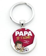 porte clé PAPA JE T AIME père amour humour couleur argent