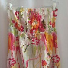 Old Navy Strapless Maxi Dress Size L Pink Orange Yellow Floral Empire Waist Boho