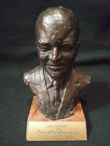 "Vintage Mid Century 7"" Bronze Dwight D. Eisenhower Statue Mid/Mod Art Decor"