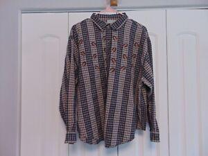 Women's Collared Acorn Print Long Sleeve Cotton Button Down Shirt 2XL