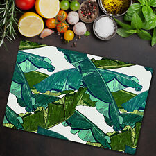 Serving Chopping Board Glass Banana leaves Green Exotic and tropical art 80x52