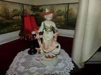 JAPAN FIGURINE VNTG. WOMAN WITH GOOSE WWII C HAND PAINTED SWEET!