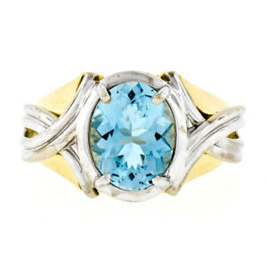 Estate 14K TT Gold 2.10ct Oval Aquamarine Solitaire Grooved Wide Cocktail Ring