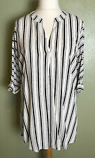 River Island Black & White Striped Feature Back 3/4 Sleeve Tunic Blouse Size 18
